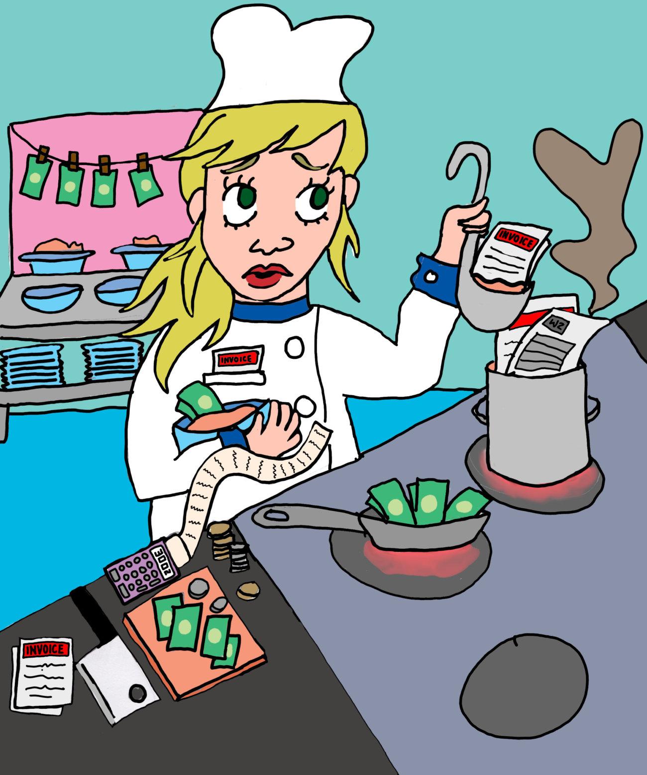 cartoon depicting chef