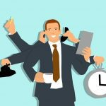 person multitasking